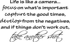 LIFE IS LIKE A CAMERA Vinyl Lettering Words Wall Art Quote Sticky Decals 40 x 23