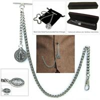 Albert Chain Pocket Watch Curb Link Chain Antique Silver Plating Fob T Bar AC43