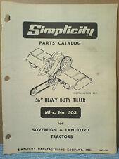 "Simplicity Mfg. 503 36"" Roto Tiller Installation And Parts Manual Original!"