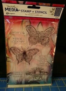 Scribbly Insects Dina Wakley Media Clear Acrylic Stamp & Stencil Set MDZ55037