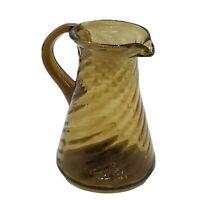"Vintage Hand Blown Art Amber Glass Pitcher In Twisted Wavy Stripe Pattern 4 1/2"""