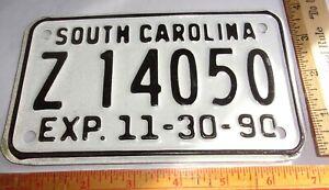 1990 S Carolina motorcycle license plate vintage collectible biker garage SC tag
