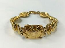 GIANNI VERSACE VINTAGE '90s MEDUSA GREEK KEY CHAINED BRACELET SHEENY GOLD ITALY