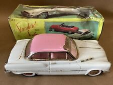 Vintage 1970s White and Pink Friction Standard Sedan Car Voiture with box