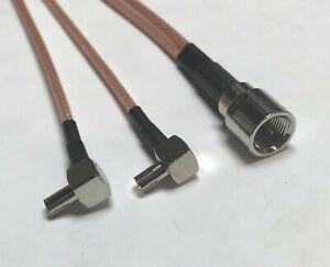 FME Male to 2X TS9 Male Angle Split RG316 Coax Cbl High Quality US Pick Length