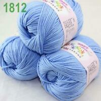 Sale lot 3 Skeins x50g Cashmere Silk Wool Children Hand Knitting Crochet Yarn 12