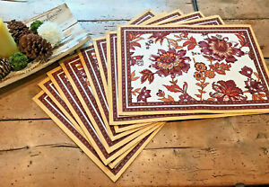 NEW Williams Sonoma Jaipur Floral Placemats Set of Eight (8) Yellow Gold White