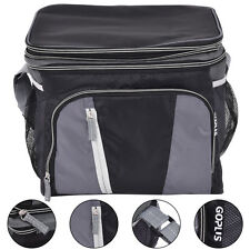 24 Can Double-layer Cooler Bag Ice Pack Lunch Container Zipper Shoulder Straps