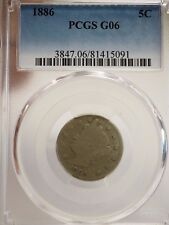 """New listing 1886 Liberty/""""V"""" Nickel Pcgs Certified G 06 5-Cents 5091"""