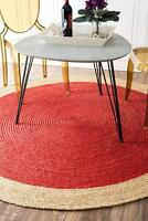 Carpet Modern Rug (3X3feet 90 x90 cm) Natural Jute Floors Natural Round Area Rug