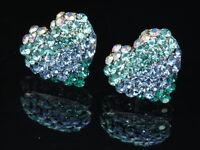 Aqua water blue crystal love heart silver tone stud earrings fashion jewerly T13