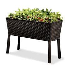 Keter Easy Grow 45x30 In Brown Elevated Resin Wicker Garden Bed With Water Gauge