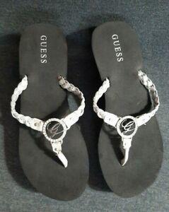 GUESS Platform Wedge Flip Flop/ Thong Sandals Black & Silver Size 10M