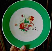 Plate GRAY'S POTTERY #7011 Green Band Floral Stoke Trent England Hand Painted