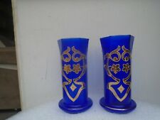 Pair of stunning cobalt blue glass vases with gold flower & scroll decoration