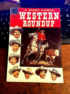 WESTERN ROUNDUP #16  100 PAGE DELL GIANT FROM 1956  ROGERS, AUTRY, MACK BROWN