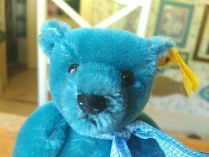 Blue Mohair Steiff Teddy Bear 1908 replica EAN 029233 Germany 8in EUC
