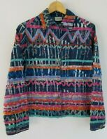 Chico's Women's 0/Small Artsy Boho Fabric Accented Long Sleeve Denim Jacket