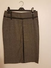 Ref 315 - RIVER ISLAND - Ladies Womens Girls Grey & Black Office Skirt Size 10