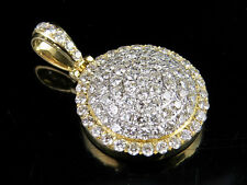 Mens 10K Yellow Gold Real Diamond Iced Dome Medallion Pendant Charm 1 7/10 Ct 1""