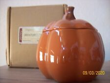 Longaberger Pottery Pumpkin Crock Halloween w/Lid New in box