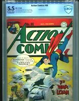 Action comics 86 CBCS 5.5 OW/WHITE pgs CGC Classic Superman WWII Cover DC 1945