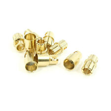 10 Pairs 8mm Gold Tone Metal Bullet Plug Female Male Connector for RC Helicopter
