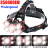 350000LM Waterproof T6 LED Head Torch Light Headlamp Flashlight Work Spot Lamp