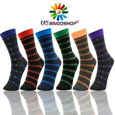 6 Pairs Ydst7 New Cotton Men Striped Style Dress Socks Size 10-13 Multi Color