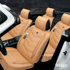 Universal 5-seat Car Seat Cover Full Set Leather Car Accessories Interior Beige