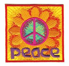 Bg20 Peace Flower écusson Bügelbild paix application paix mondiale Fleurs À faire soi-même
