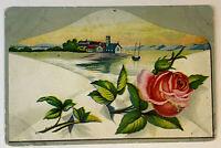POSTCARD Envelope Red Rose with Landscape House Vintage Post Card Undivided