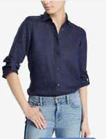 Lauren Ralph Lauren Women's 100% Linen 3/4 Sleeve Button Up Long size large