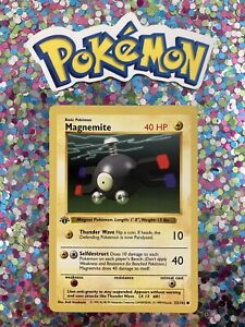 ⭐️ Magnemite Base Shadowless Pokemon 1st Edition Card Nintendo 1999 Wizards 🎏