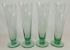 """Set of 4 Spanish Green 9 1/4"""" tall Pilsner Beer Cocktail Handcrafted Glasses"""