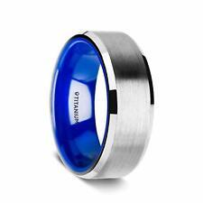 Center Vibrant Blue Inside - 8mm Arctic Flat Beveled Edges Titanium Ring Brushed