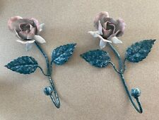 "Vintage Italian Tole Metal Rose Wall Hooks (Pair - 1) Toleware Decor 7"" x 5.5"""