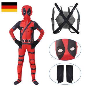 Halloween Karneval Cosplay Deadpool Kostüm Kinder Jungen Jumpsuit Maske Outfit