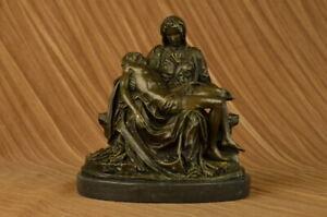The Pieta by Michaelangelo 12 Inch Solid Bronze Statue Lost Wax Method Artwork