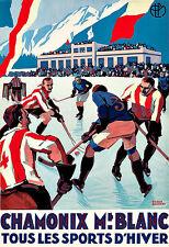 Art ad Chamonix Mt Blanc Deportes Dhiver viaje Deco cartel impresión de hockey sobre hielo