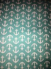 White Anchors On Teal Fabric Scrap Quilt Sew