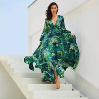 Women Boho Floral Long Maxi Dress Evening Party Beach Dresses Summer Sundress UK