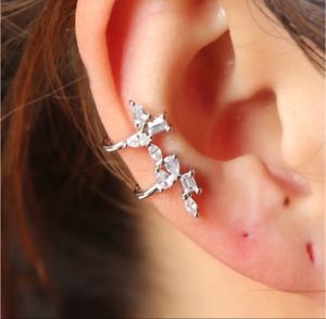 Sterling Silver CZ Single Ear Cuff non pierced clip on climber crawler cartilage