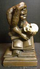 Vintage Bronze Colored Darwin Monkey On Books w/ Skull Chalkware Statue V. Good