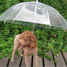 Transparent Dog Cat Umbrella With Built-in Leash Portable Pet Dry in Rain