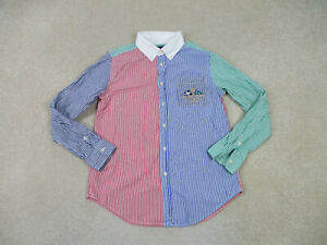 Ralph Lauren Polo Button Up Shirt Youth Large Blue Green Crest Long Sleeve Boys