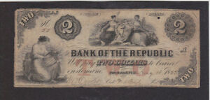 2 DOLLARS FINE BANKNOTE FROM UNITED STATES/RHODE ISLAND 1833 RARE