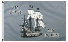 My Boat My Rules Pirate Boat Flag 3X5Ft Banner Us shipper