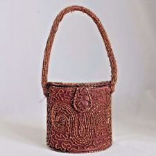Antique Gold Floral Frame Knit Iridescent Brown Green Copper Bead Lined Purse Up-To-Date Styling Antiques