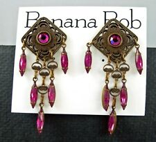 BANANA BOB Vtg FUCHSIA Magenta SWAROV CRYSTAL Rhinestone Dangle Pierced Earrings